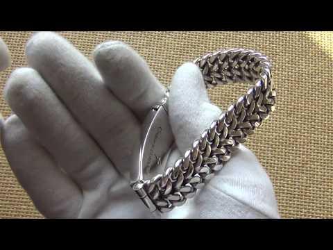 """Мощный серебряный браслет""""Двойное панцирное""""Серебро925пр145гр"""