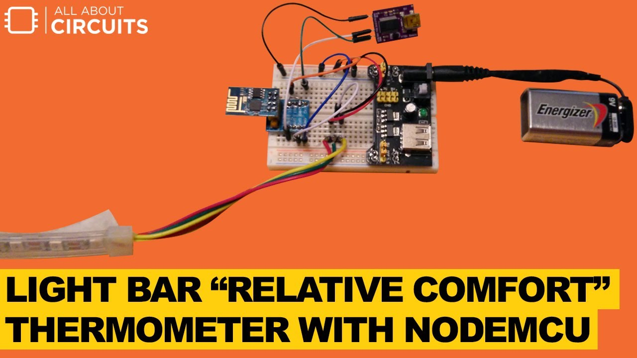 """Light Bar """"Relative Comfort"""" Thermometer with NodeMCU"""