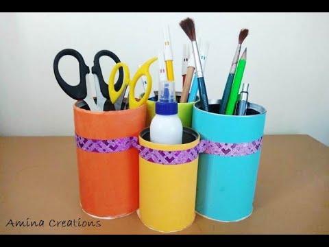 DIY Desk organizer/ Pen stand/ stationary holder/ #bestfromwaste #tincraft #kidscraft