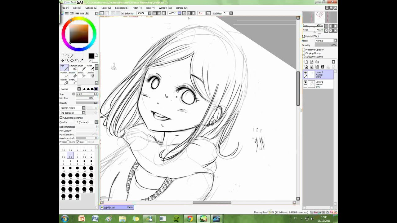 Paint Tool Sai lineart tutorial by Yanderika - YouTube
