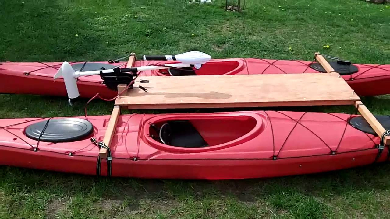 Kayak catamaran with electric trolling motor haswing for Outboard motor for canoe