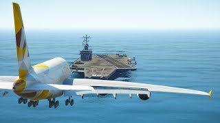 Airbus A380 Emergency Landing On Aircraft Carrier | GTA 5