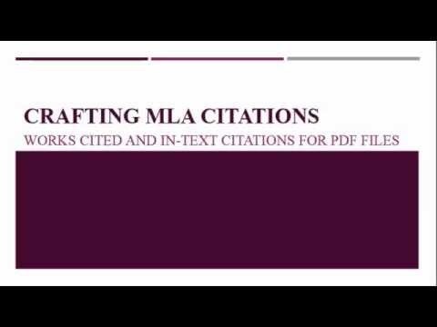 MLA Formatting How to Cite a PDF - YouTube
