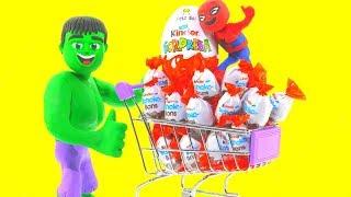 HULK GOES TO THE SUPERMARKET ❤ Spiderman, Hulk & Frozen Play Doh Cartoons For Kids