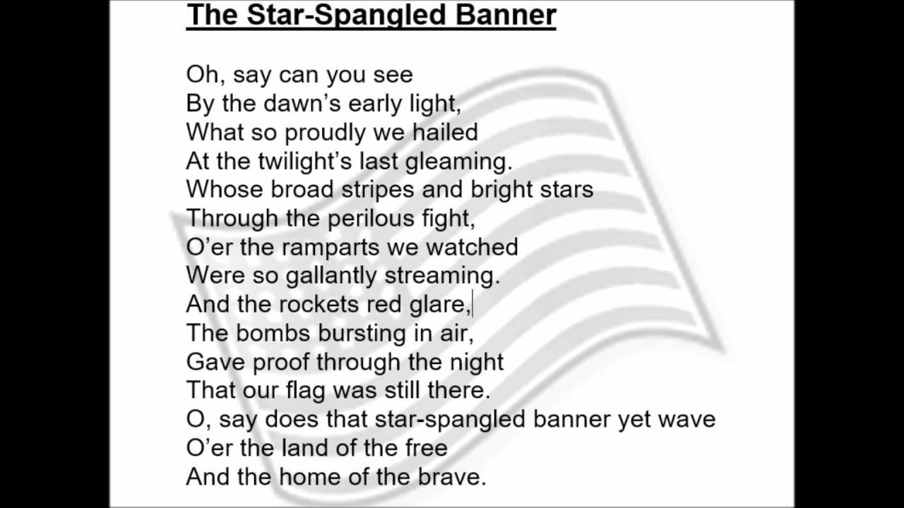 It's just a photo of Lively Star Spangled Banner Lyrics Printable