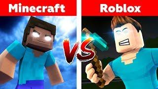 MINECRAFT vs ROBLOX! Herobrine's War Challenge