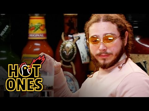 Post Malone Sauces on Everyone While Eating Spicy Wings   Hot Ones