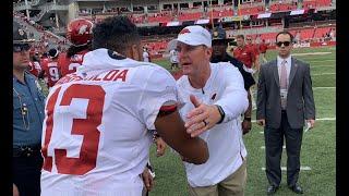 Tua Tagovailoa congratulated by Arkansas coach Chad Morris after win