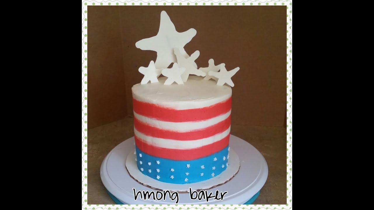 4th Of July Cake Flag Cake Cake Decorating Youtube