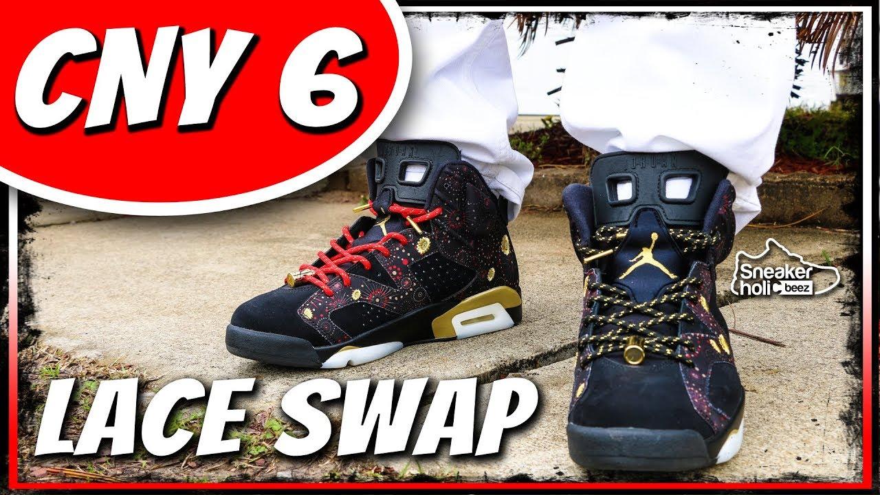 ef8fdb2d3207 AIR JORDAN RETRO 6 CNY Sneaker LACE SWAP AND ON FEET
