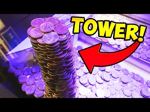 Coin Pusher || WINNING HUGE TOWER OF GOLD COINS!