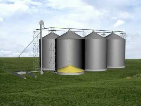 Video-Watch how a horizontal grain pump services two rows of bins