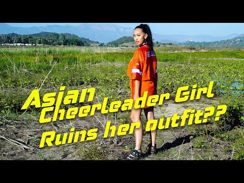 Hot Asian Cheerleader Girl Having Fun in Muddy Swamp | Ruin Air Jordan 1 | Girl in Mud | WAM
