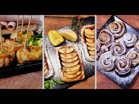 pâte-feuilletée-:-3-recettes-salées-et-sucrées---طريقة-تحضير-مورقات-حلوة-ومالحة-سريعة
