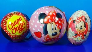 3 surprise eggs! Disney MINNIE MOUSE eggs surprise! Chupa Chups egg For Kids For BABY mymillionTV
