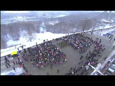 Флешмоб на Воробьвых горах в Москве