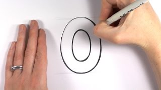 How to Draw a Cartoon Number Zero - 0