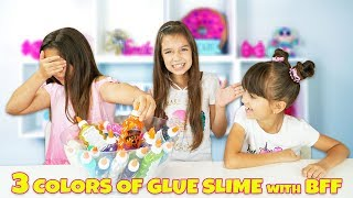 3 COLORS OF GLUE SLIME CHALLENGE with our BFF