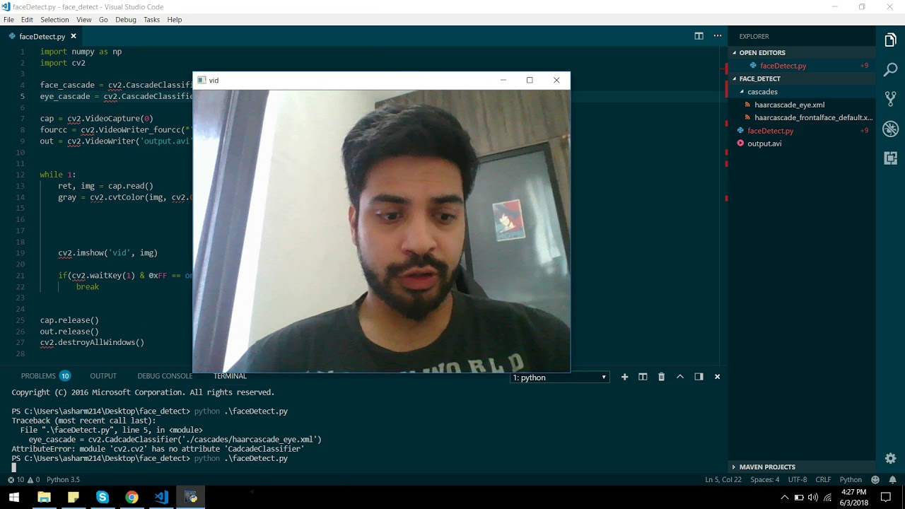 Face Detection in Python and CV2 (Hindi tutorial)