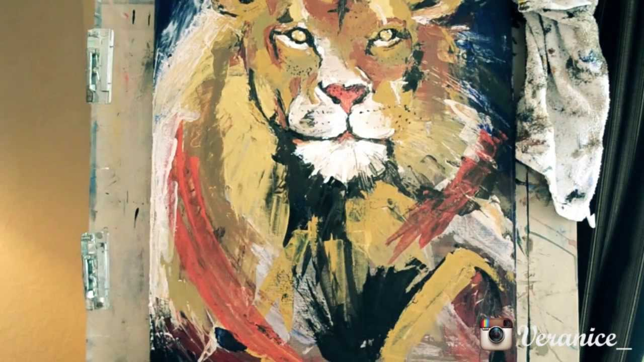 Lion palette knife painting acrylic youtube for How to paint with a palette knife with acrylics