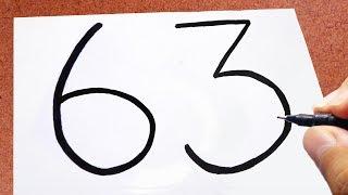 """Como Transformar o NÚMERO """" 63 """" em uma Coruja🦉, TRUQUES EM DESENHOS"""