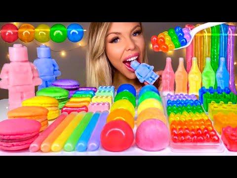ASMR NIK-L-NIP WAX BALL, POPPING BOBA, LEGO MAN, WAX BOTTLE CANDY, RAINBOW FOOD,