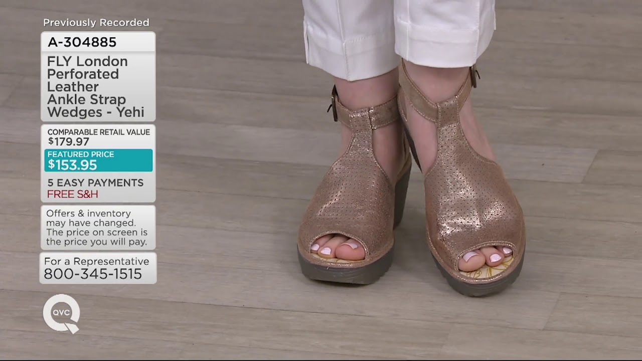 ea780c2e1705 FLY London Perforated Leather Ankle Strap Wedges - Yehi on QVC - YouTube