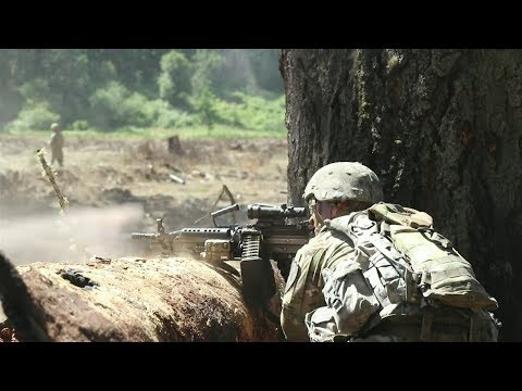 US Army Company Combined Arms Live Fire At Joint Base Lewis McChord
