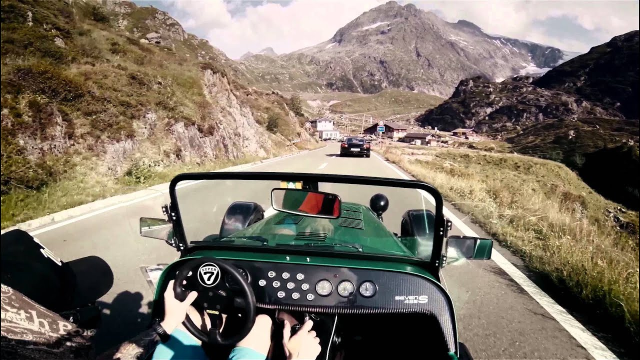 caterham 485 on sustenpass pure roads porsche turbo cayman s and nissan gt r 2015 youtube. Black Bedroom Furniture Sets. Home Design Ideas
