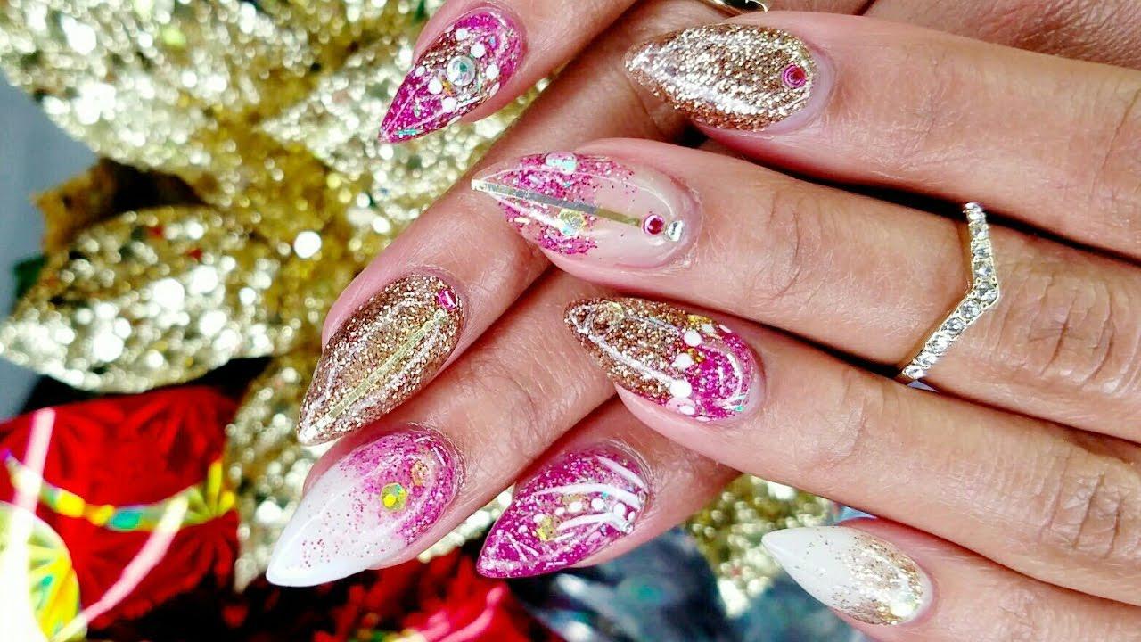 Pink White & Gold GLITTERED ACRYLIC NAILS Tutorial + NAIL ART! - YouTube