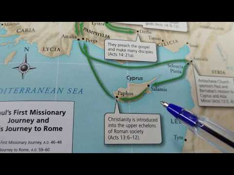 Paul And Barnabas First Missionary Journey Map (Acts 13 - 14)