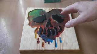 Melting crayon wax in a routed out skull..Fail