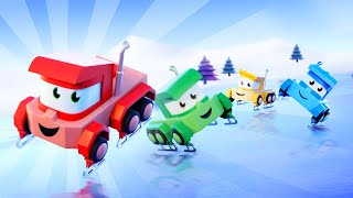 Мультфильмы с грузовиками для детей -  Катаемся на льду - Truck Games
