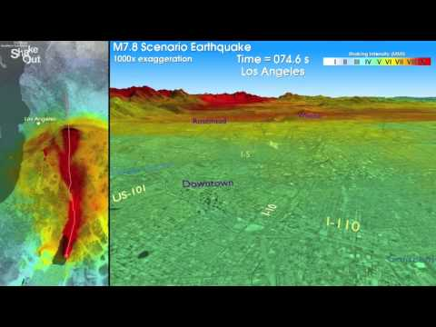 SanDimas.net - 7.8 ShakeOut Los Angeles HD Earthquake Simulation