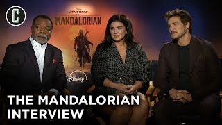 ... - pedro pascal, gina carano, and carl weatherswith disney+ the star wars series mandalorian getting ready to launch to...
