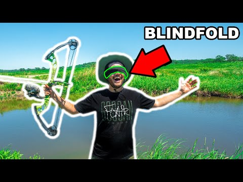 BOWFISHING Sewer Tunnel With A BLINDFOLD Challenge!!! (Impossible Shot)