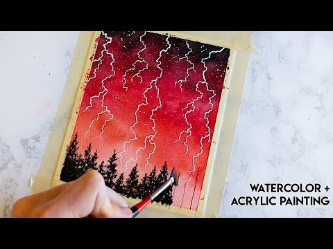 Red Lightning Forest - Watercolor + Acrylic Timelapse