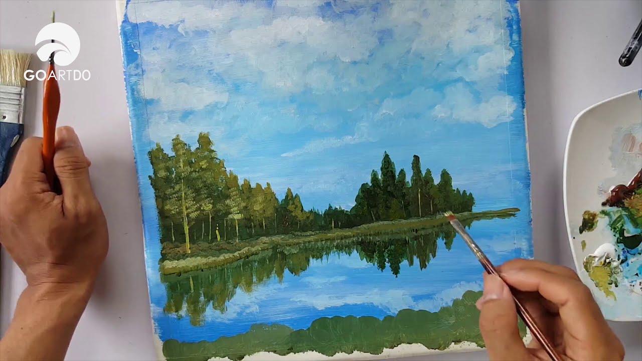 Vẽ tranh acrylic đơn giản #09 | Vẽ hồ nước cực dễ cho người không biết vẽ