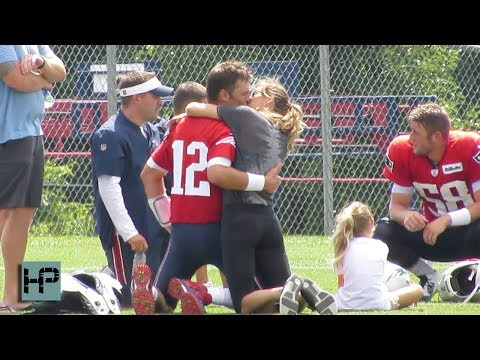 Gisele Surprises Tom Brady On His Birthday And Fans Sing During Patriots' Practice