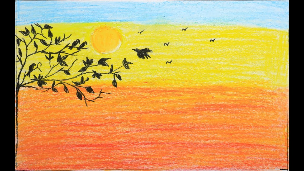 How To Draw Scenery Of Sunset Step By Step Easy Drawing For Kids