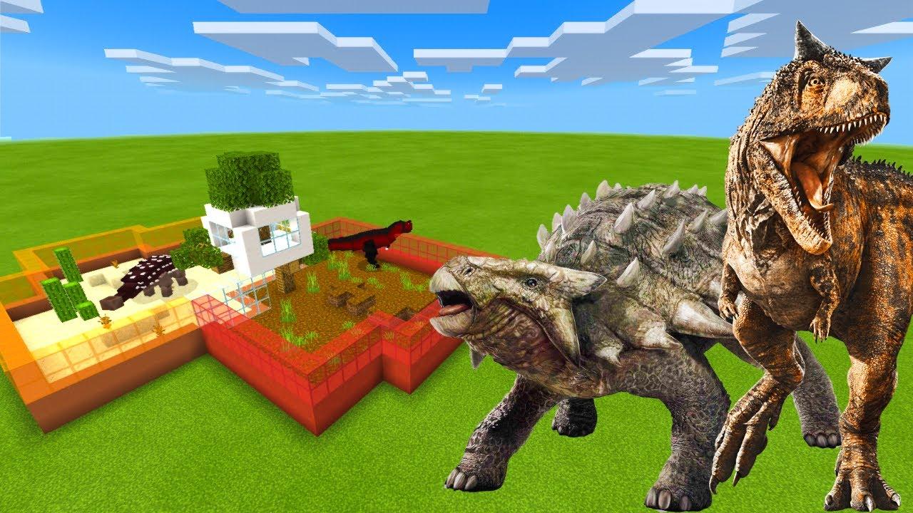 How To Make an ANKYLOSAURUS & CARNOTAURUS FARM in Minecraft Bedrock (MCPE)