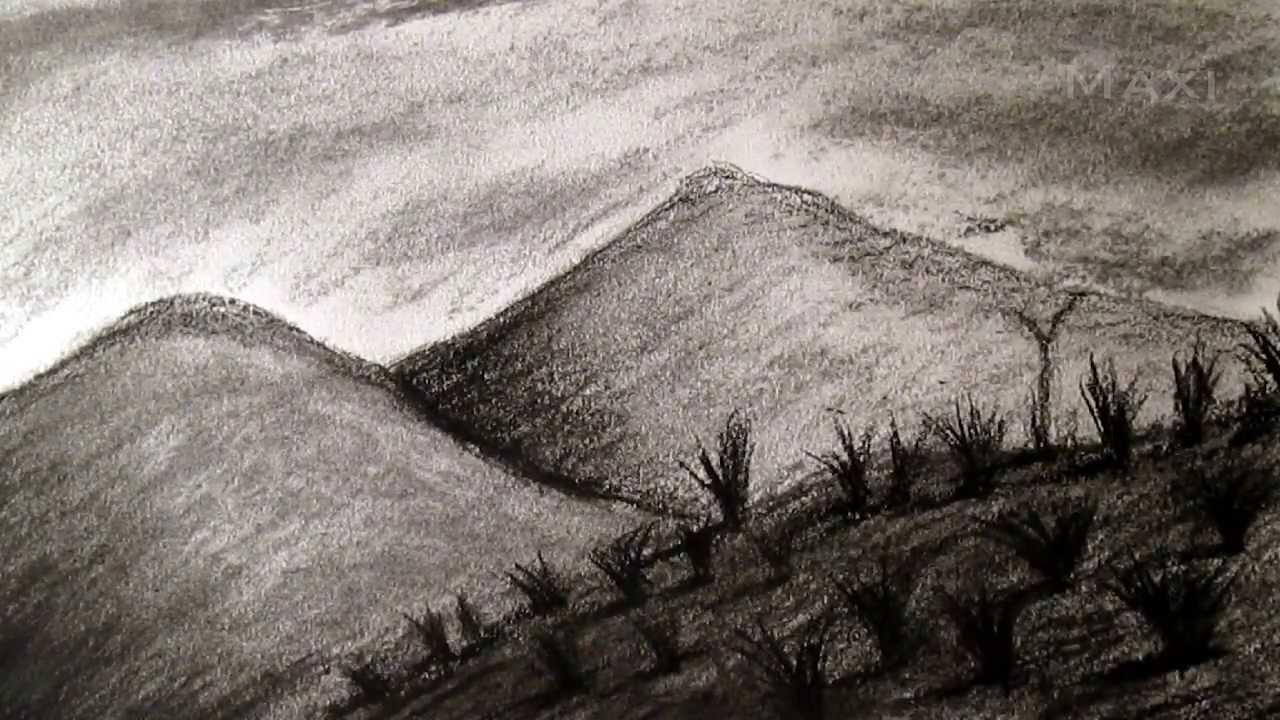 Cómo Dibujar Paisaje Al Carboncillo, Dibujar Paisajes Y