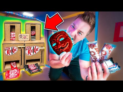 GAME MASTER CHALLENGE DIY Cardboard CANDY Dispenser! BOX FORT CANDY SHOP