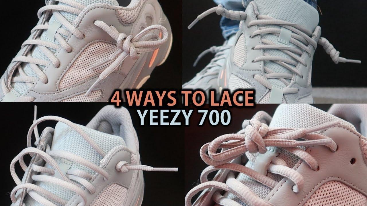 Impresión psicología Elástico  4 NEW WAYS TO LACE YEEZY 700s (Featuring Yeezy 700 'Inertia') With On Feet  - YouTube