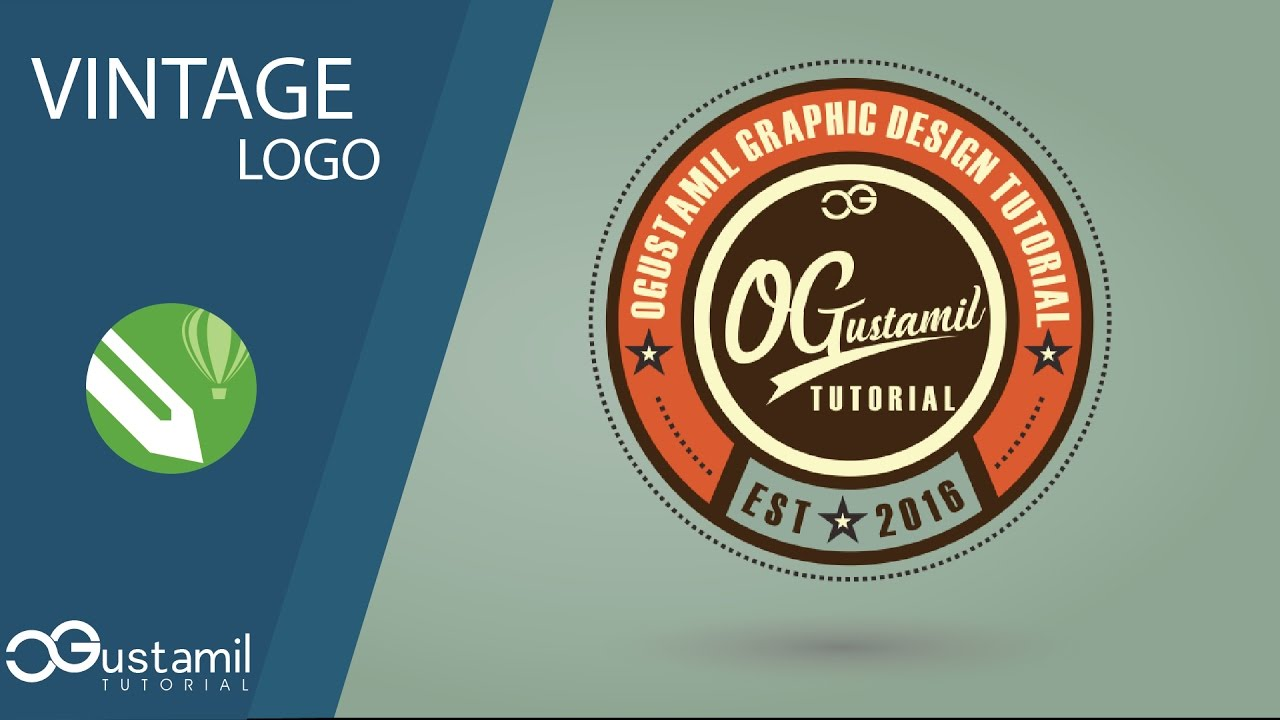 graphic design membuat distro vintage logo coreldraw