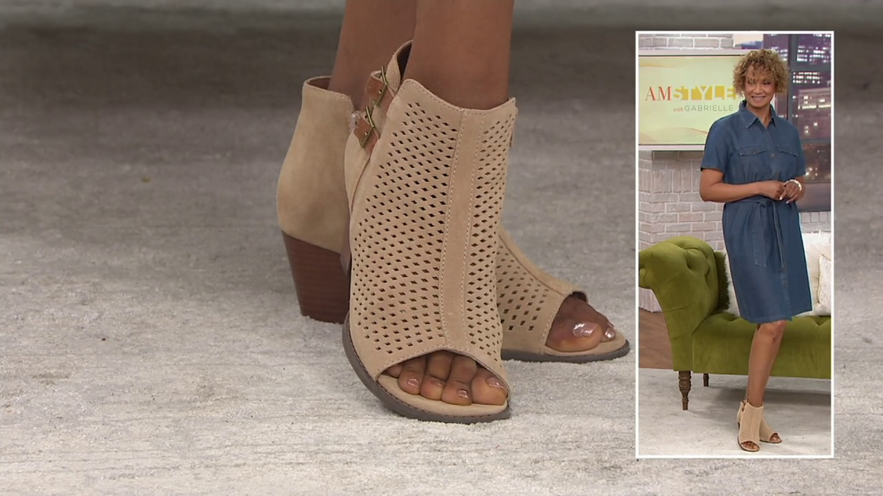 buy cheap cheapest price classic styles Vionic Orthotic Suede Peep Toe Ankle Boots - Chryssa on QVC - YouTube