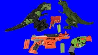 Learn Colors with Dinosaurs and Toy Guns for Kids Nerf Guns