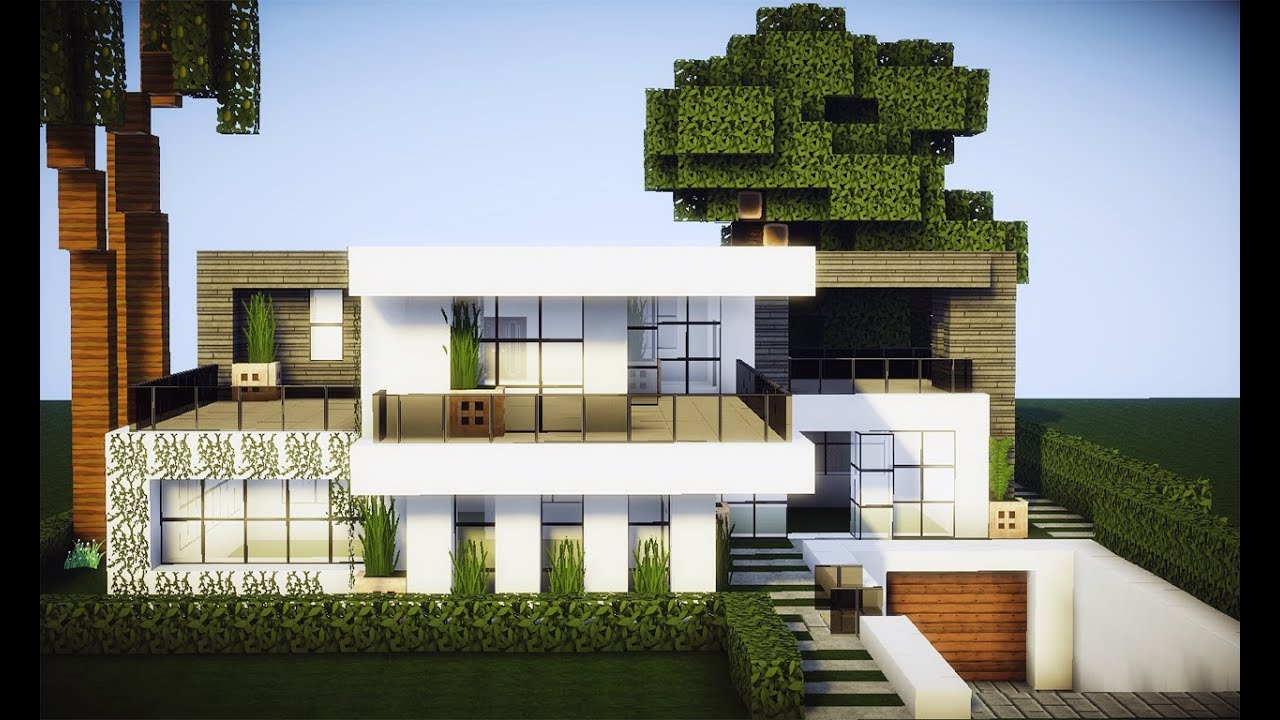 Minecraft tutorial casa moderna mobilha 2 for Casa moderna minecraft tutorial