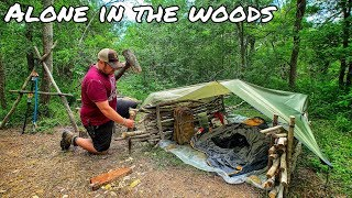 Shelter Building with Minimal Tools - 12 Day Budget Survival Challenge - Day 7