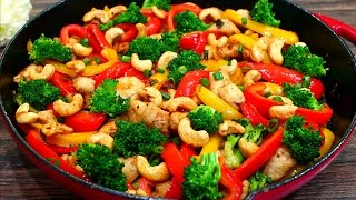 Skinny Cashew Chicken and Vegetable Stir Fry Recipe - Easy Healthy Chicken Stir Fry